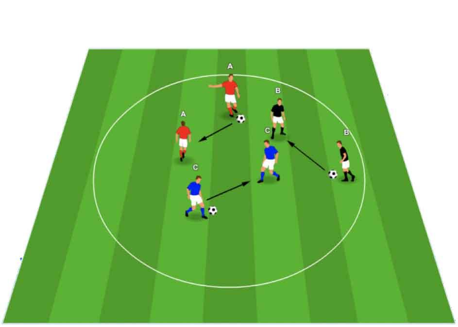 voetbal warming-up met bal