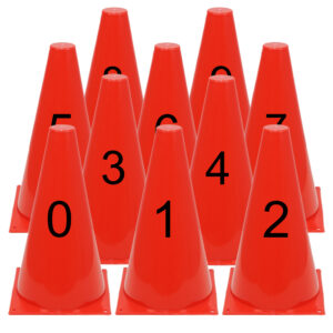 Genummerde pionnen met cijfers 0-9